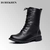 Genuine Leather Warm Fur Military Snow Boots Women S Motorcycle Riding Hunting Casual Walking Shoes Designer