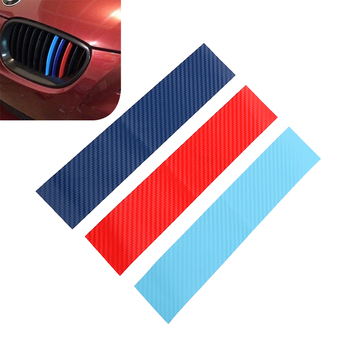 3pcs/set Car Stickers and Decals Carbon Fiber Front Grill Stripes For BMW M3 M5 M6 E46 E39 E60 E90 Auto Decoration Car-styling image