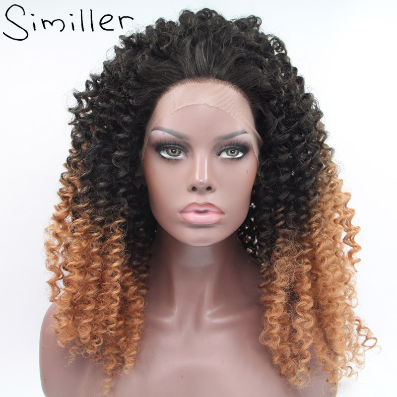 Similler Afro Kinky Curly Long Fluffy Big Heat Resistant Synthetic Lace Front Wigs Black Root Brown 2 Tones Color For Women