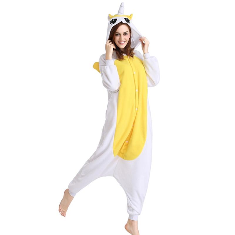 Adult Yellow Unicorn Horse Onesie Unisex Pajamas Homewear All In One Cosplay Unicorn Horse Onesie Cartoon Winter Soft Sleepwear
