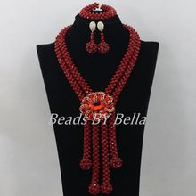2015 Hot African Wedding Beads Jewelry Set Wine Nigerian Crystal Beads Necklace Fashion Bridal Jewelry Sets Free Shipping ABF409