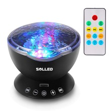 Control Ocean Wave Projector 12 LED Night Light with Mini Music Player