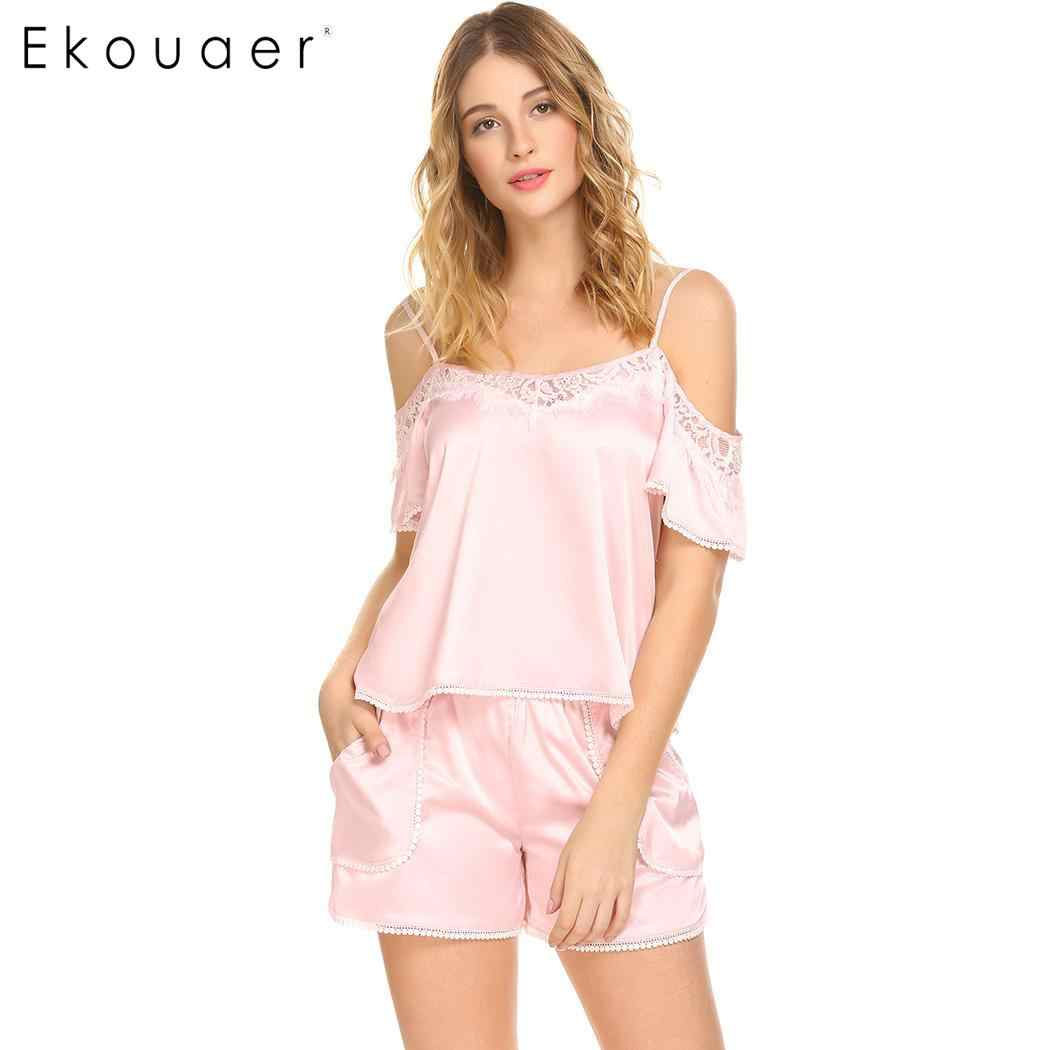 Ekouaer летние пикантные атласные пижамы набор Для женщин из двух частей шорты пижамы с открытыми плечами кружевной отделкой Топ и короткие штаны Пижама комплект