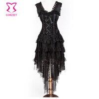 New Arrivel Black Lace Bandange Steampunk Corset Skirt And Hem Burlesque Dance Corselet Costumes Women Party