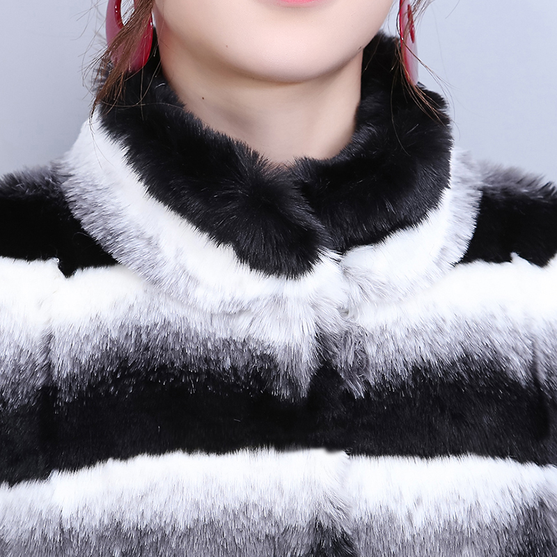 Kj297 Ayunsue Veste Manteau 6xl Rayé Jaket Faux La De Taille Famale D'hiver White Chaqueta Black Mujer Femmes Vison Femme Fourrure Plus EqUrq