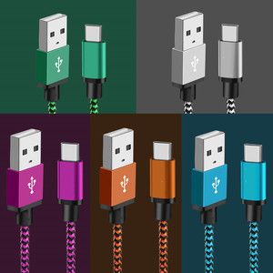 2.4A USB Type C Cable Fast Data Sync Charging Cable For Samsung Galaxy S8 S9 Plus Huawei Xiaomi USB C USB-C Mobile Phone Cables