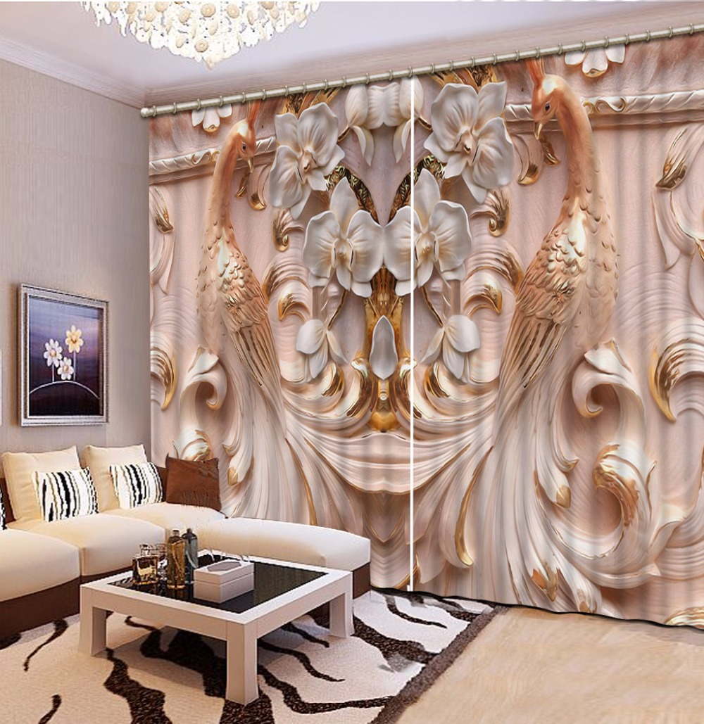 3D Curtain Embossed flowers peacock  Window Curtains For Living Room Bedroom European style Curtains3D Curtain Embossed flowers peacock  Window Curtains For Living Room Bedroom European style Curtains