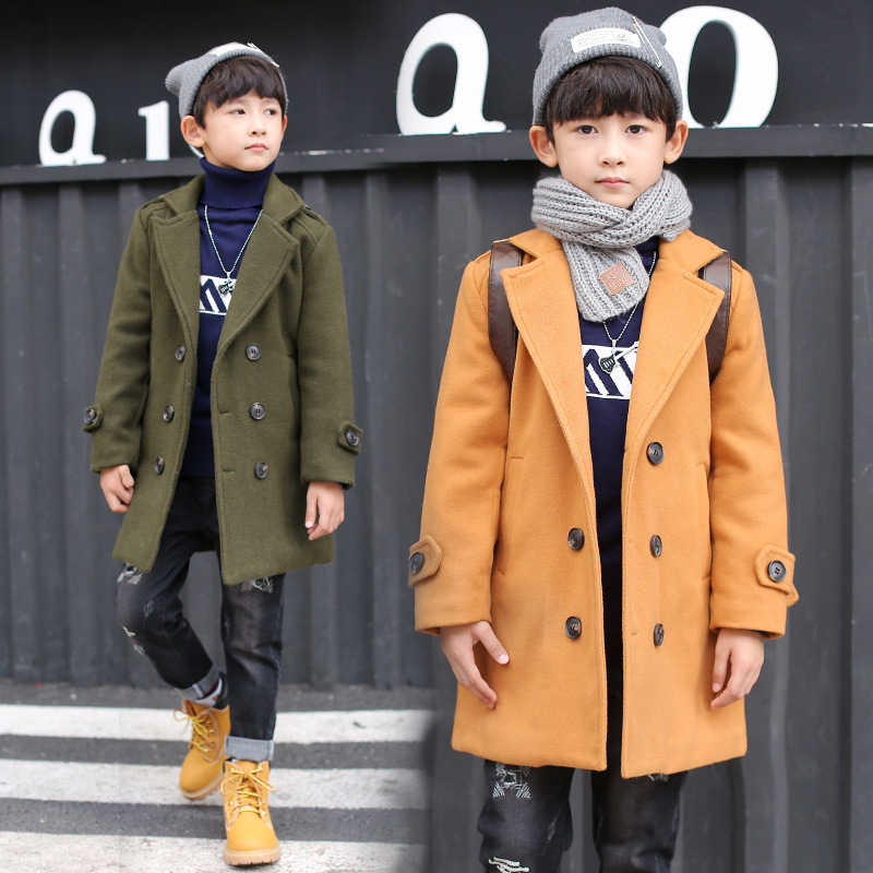 Retail 1Pcs Brand New Design Boys Winter England Style Turn-down Collar Jacket Kids Boys Long Style Belt Velvet Coat Outwears