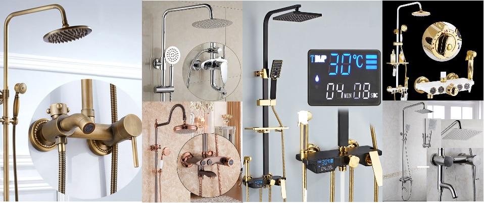 HTB1uddJUhTpK1RjSZR0762EwXXaC Senducs Digital Bathroom Shower Set Fashion White Gold Shower Series Quality Brass Bath Shower Faucet Temperature Shower Set