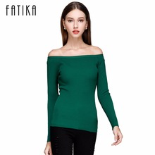 FATIKA Autumn and Winter Basic Women Sweater slit neckline Strapless Sweater thickening Sweater Off Shoulder Pullover