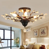 Fashion vintage americian crystal eiling light,flower E14 candle Light,living room bedroom foyer hall household light fixtures