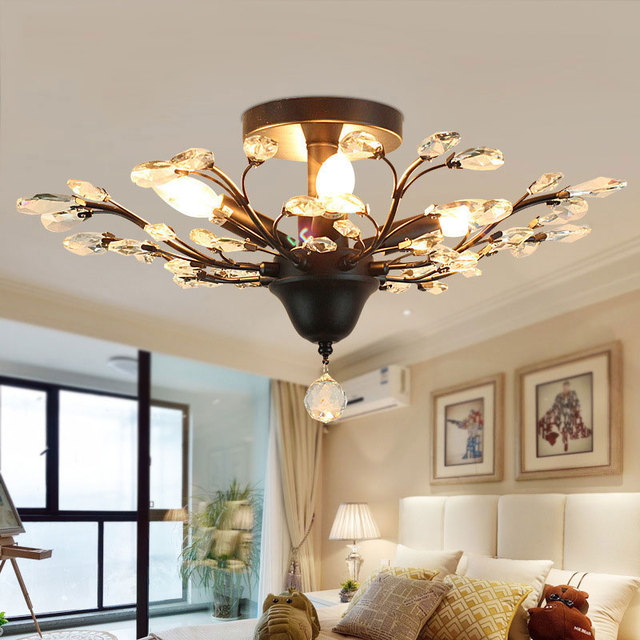 Us 5107 42 Offmoda W Stylu Vintage Americian Kryształ Eiling światła Kwiat E14 światło świecy Pokój Dzienny Sypialnia Przedpokój Hall