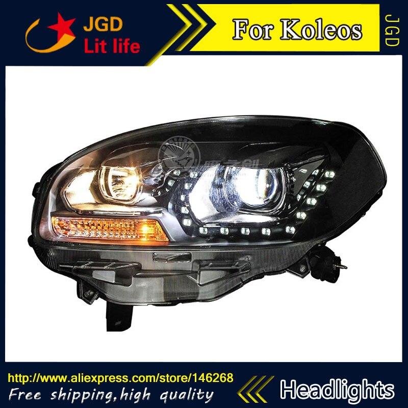 Free shipping ! Car styling LED HID Rio LED headlights Head Lamp case for Renault koleos 2012-2014 Bi-Xenon Lens low beam