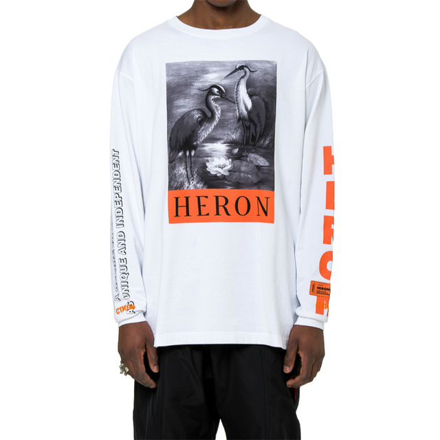 6fd9b5c74600c Best Version White Heron Preston Bird T-shirt Graphics Print Long Sleeve  Tops Streetwear Embroidered Text Patch At Sleeves