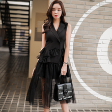 Dabuwawa New Summer Sleeveless Sexy Ladies Mesh Dress Women Black Double-Breasted Elegant Holiday Dresses D18BDR279