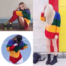 New Vintage Jumper Long Sleeve Rainbow Sweater