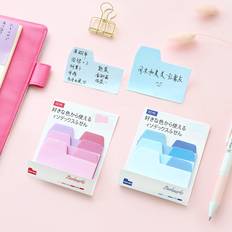 60Pcs/Pack Index Hello Candy Gradient Color Notes Post it N Times Sticky Memo Pad Stationery Office Supplies M0400