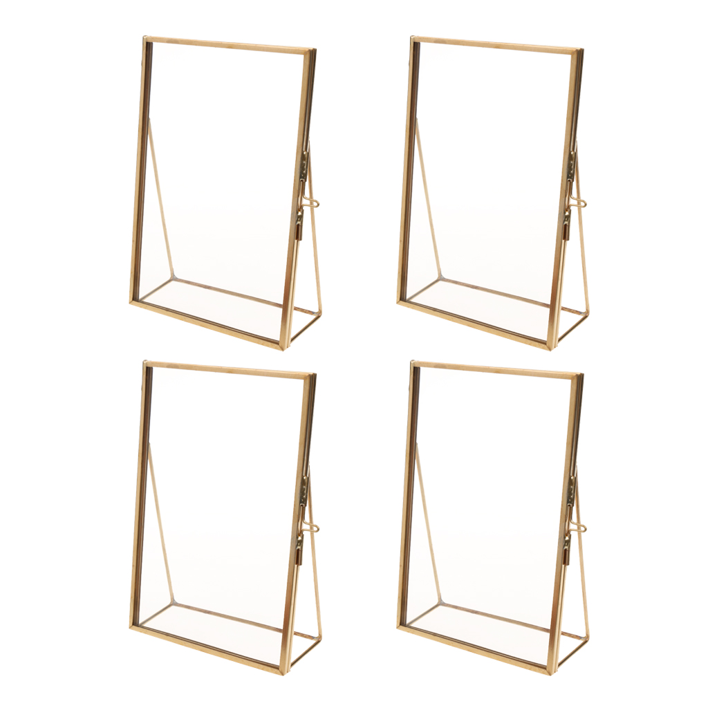 Set of 4 Antique Brass Glass Family Photo Picture Frame Portrait Home Decor Gift Displaying Photo