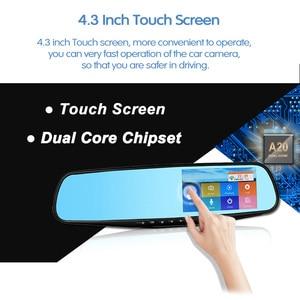 Image 3 - E ACE Auto Dvr Dash Cam 4,3 Zoll Touch FHD 1080P Rückspiegel Video Recorder Dual Objektiv Auto Registrator Mit rückansicht Kamera