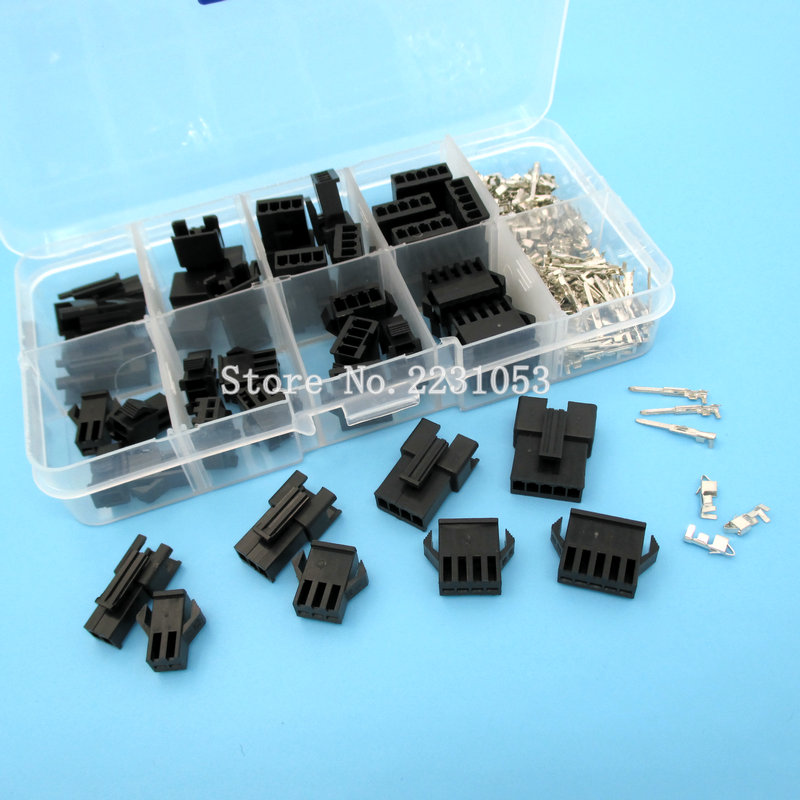 200PCS 2.54mm Dupont Terminal Male/Female Pin SM2.54 Cable Plug 2/3/4/5 Pin Electrical Jumper Header Housing Wire Connector Kit