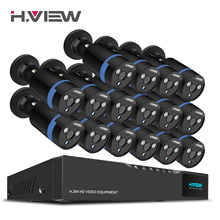 H.View 16CH Surveillance System 16 1080P Outdoor Security Camera 16CH CCTV DVR Kit Video Surveillance iPhone Android Remote View