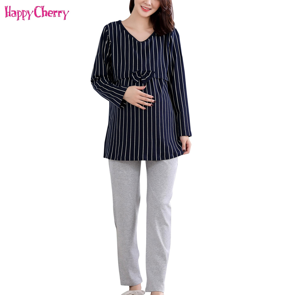 Happy Cherry Maternity Cotton Pajamas Waist-bow Striped Loose Clothing Women Mother Breast Feeding Pregnant Nursing Pajamas Suit