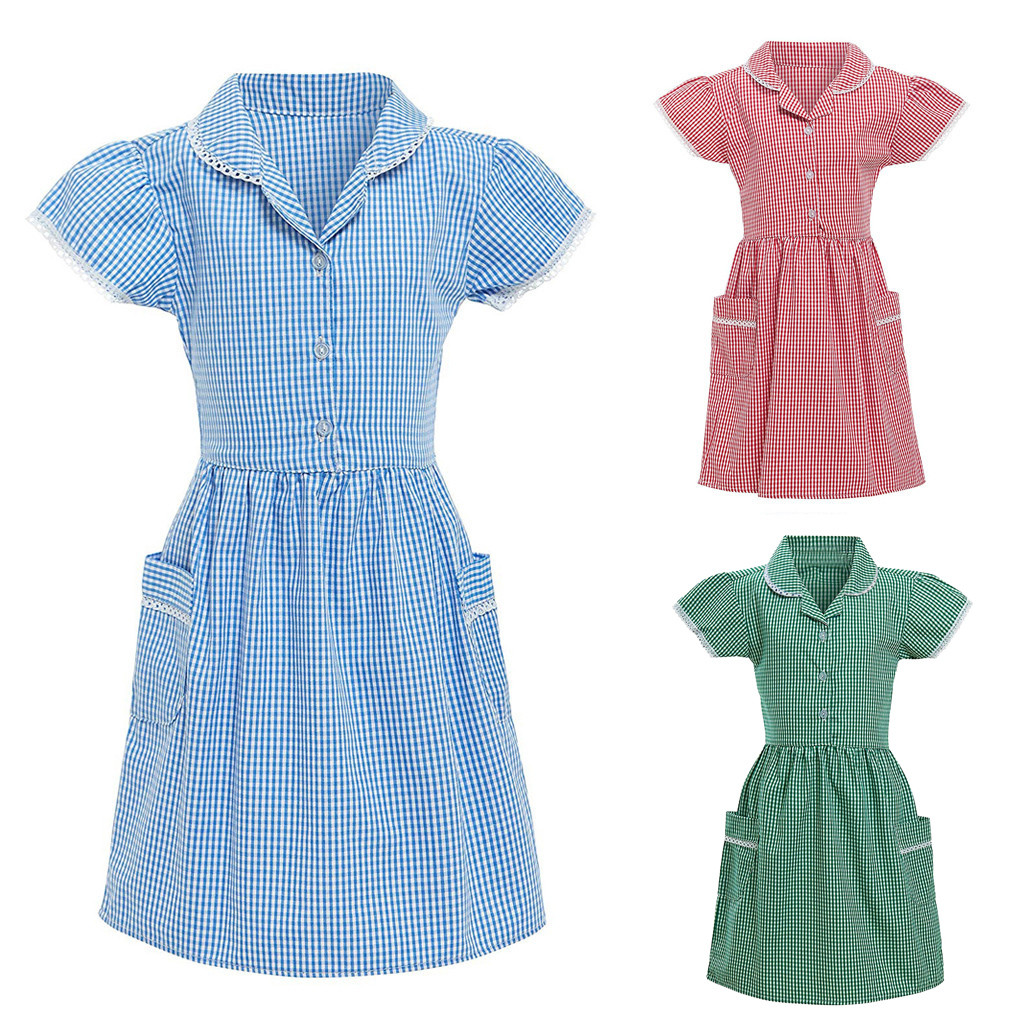 Summer Kids Gingham Girl Clothing Princess Turndown Lace Plaid Check Pocket Button School Dress New Year For Girls Clothes