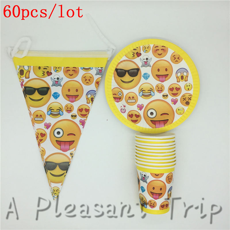 60pcs Lot Popular Emoji Themed Disposable Tableware Birthday Party Decoration Smiling Face Supplies Suitable For 20 People In