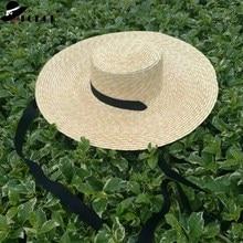 Gros large bord chapeau de paille femmes été casquette de plage avec ruban noir cravate dames nouvelle mode soucoupe soleil chapeau Kentucky Derby chapeaux