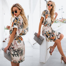 Womens Boho Beach Mini Dress Ladies Sexy V-Neck Short Sleeve Summer Floral MIni Dresses