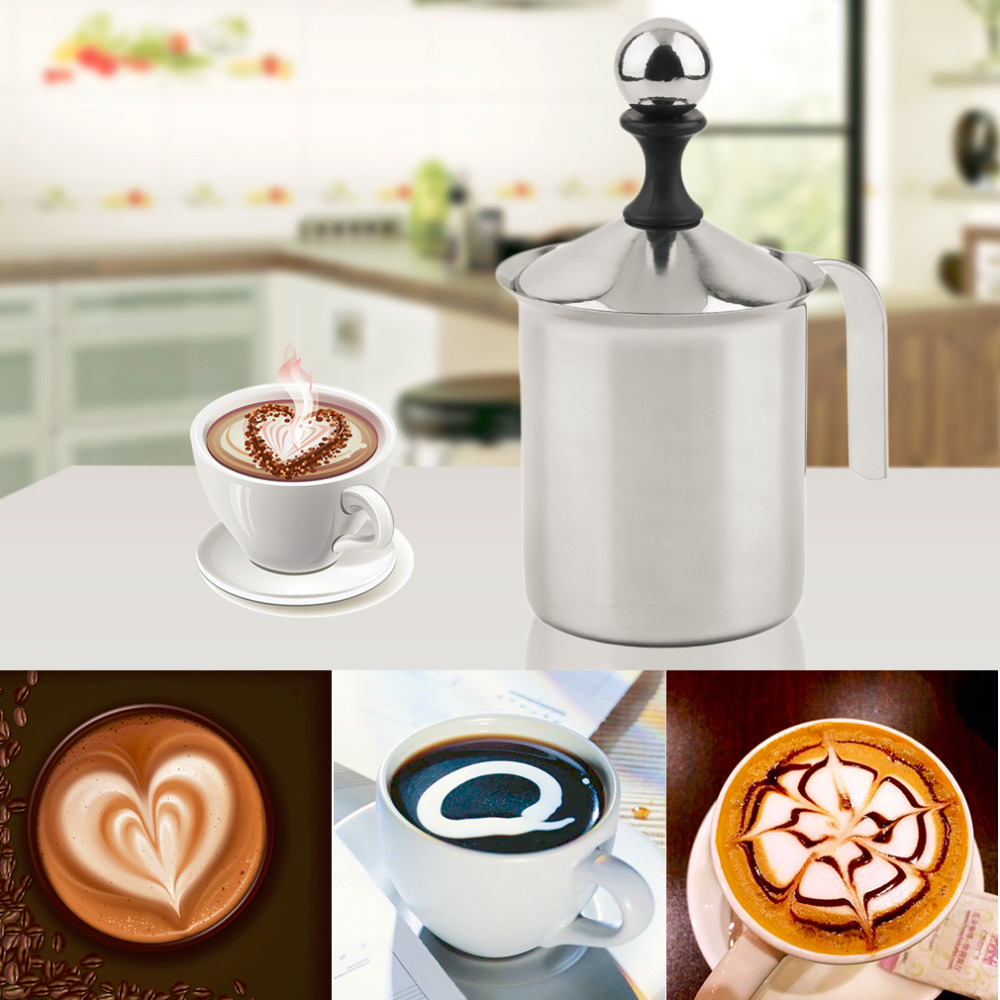 400/800ml Stainless Steel Double Mesh Milk Frother DIY Fancy Coffe Cream Milk Foamer Milk Creamer Kitchen Tool