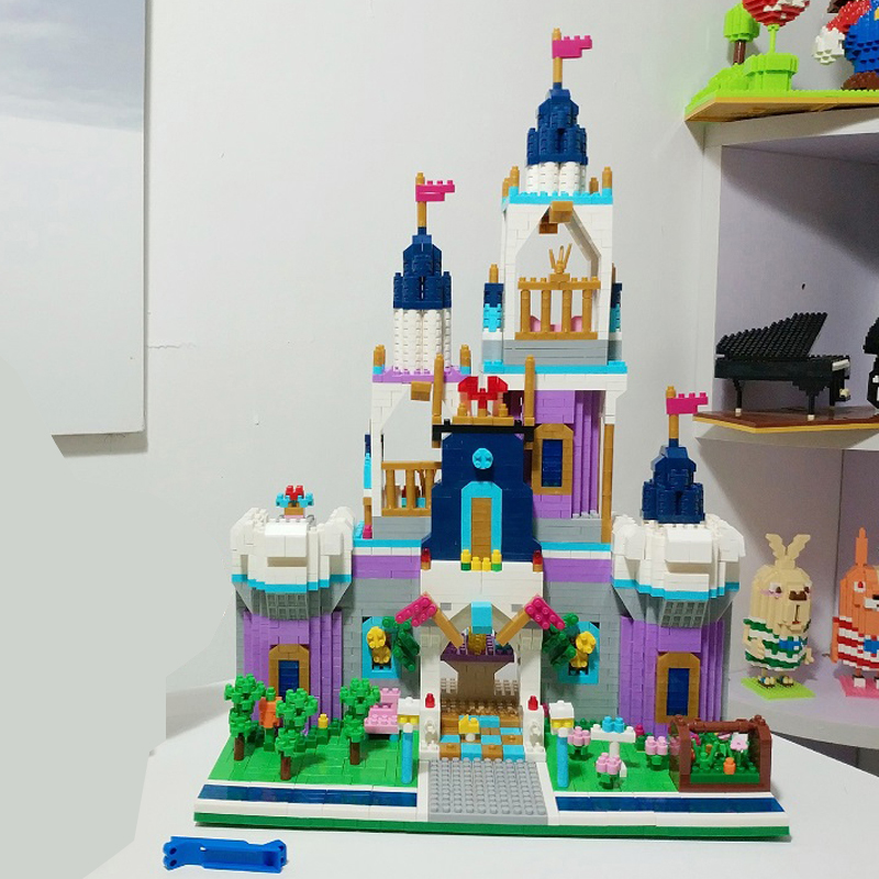 Architecture Royal Big Castle Garden Tower Ship Princess 3D Model DIY Diamond Mini Building Blocks Toy Gift Collection bricks in Blocks from Toys Hobbies