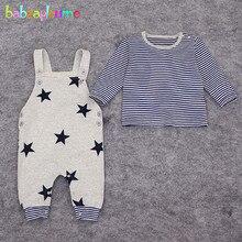 2Piece/Zero-18Months/Spring Autumn Newborn Baby Suit Boys Clothes Cotton Casual Stripe T-shirt+Overalls Infant Clothing Sets BC1028