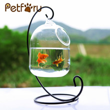 Clear PETFORU 15cm Height Hanging Glass Aquarium Fish Bowl Fish Tank Flower Plant Vase with 23cm Height White Rack Fishbowls(China)