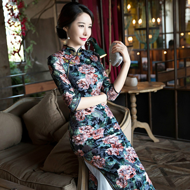 d2d3a923d Fashion 3/4 Sleeve Long Dress Qipao Dresses Vintage Chinese Style Cheongsam  Dress Velvet Cheongsam Daily Slim Printing Dress