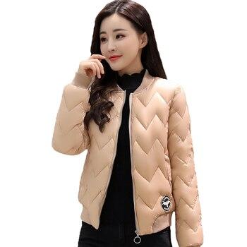 720c6dac7d692 2019 Chaqueta corta de las mujeres de cuello redondo de béisbol chaqueta  básica de nueva moda de algodón acolchado femenina otoño chaqueta feminina  abrigo