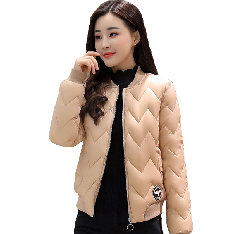 2019 short   jacket   women round-neck baseball   basic     jacket   solid new fashion cotton padded female autumn jaqueta feminina coat