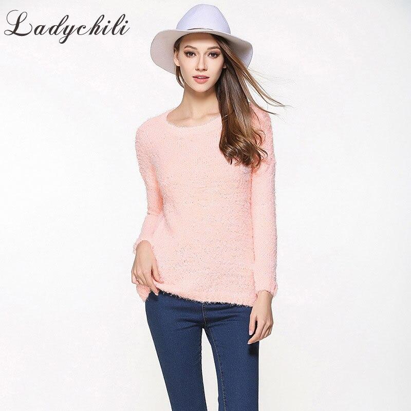 Ladychili vêtements pour femmes grande Szie S-XXL rose jaune doux fille hiver pull à manches longues basique doux pull S36-1