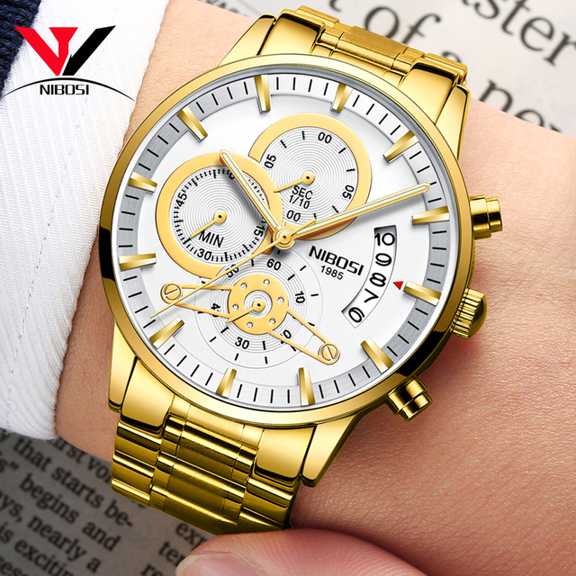 NIBOSI Relogio Masculino Watch Men Gold And Black Mens Watches Top Brand Luxury Sports Watches 2019 Reloj Hombre Waterproof      4