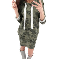 Vintage Camouflage Print Hooded Dresses Women Spring Autumn Ladies Long Sleeve Casual Loose Mini Pullover Shirt