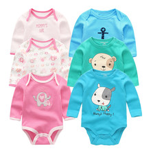 Long Sleeve Girls Playsuits Infant Boys Jumpsuits 100% Super Soft Cotton Cartoon Pattern Baby Clothing Newborn Baby Bodysuit(China)