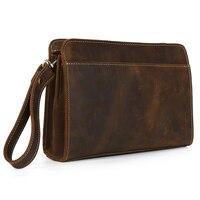 Genuine Leather TIDING Retro Crazy Horse Leather Men Women Clutch Bag Vintage Cowhide Leather Purses Handbags