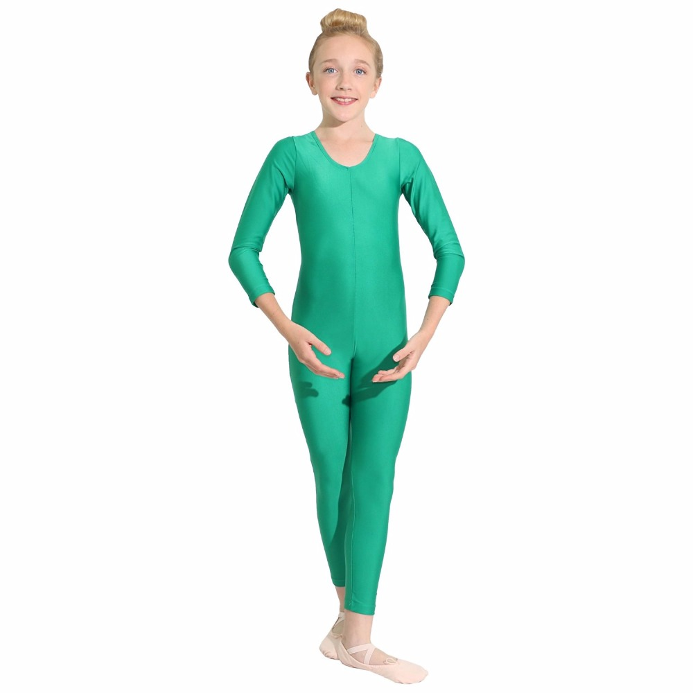 Black Long Sleeve Gymnastics Unitard Girls Full Body Spandex Dance Unitard Bodysuit Green Lycra Dancewear Skin Tight Jumpsuits