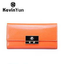 цена на 2015 New high quality women wallets designer lock genuine leather purse female long clutch wallet casual lady carteira
