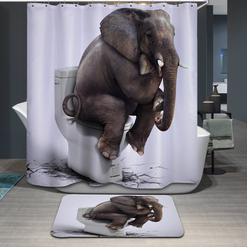 High Quality Cartoon Shower Curtain Polyester Waterproof Home Bathroom Curtains 3D Printed Elephent Thicken