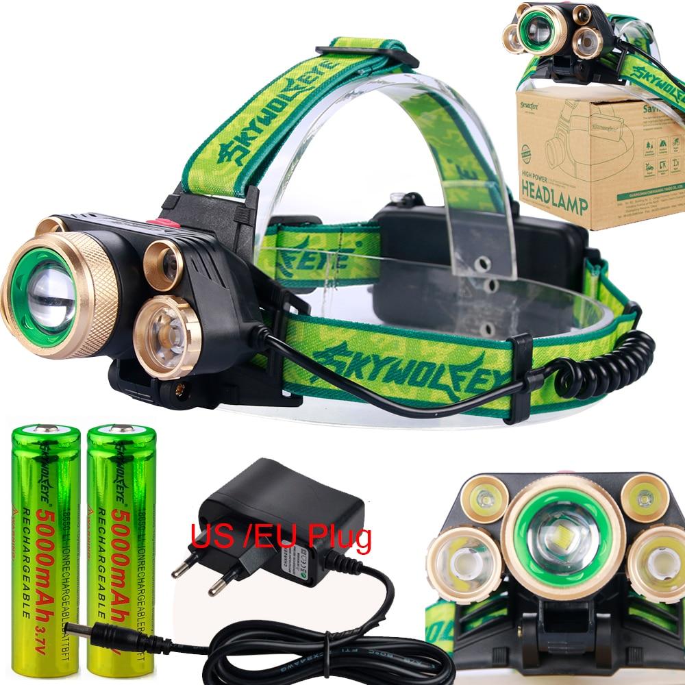 5 LED Headlamps 20000 Lumens High Power LED Headlight T6+4Q5 Camping Head Torch Zoom 4 Modes Head Lantern 2x18650 Frontal Lamp