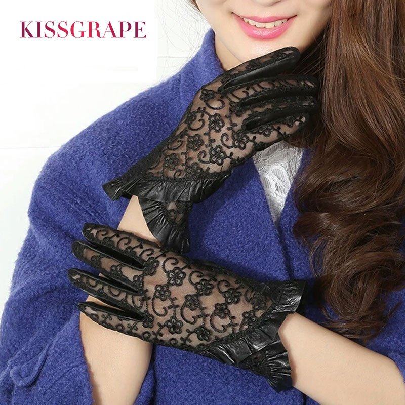 New Lady Luxury Elegant Genuine Leather Lace Gloves Women Summer Driving Leather Gloves Mittens Ladies Party Gloves High Qultiy