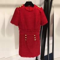 Красное шерстяное платье Демисезонный платье 2018 высокое качество Для женщин взлетно посадочной полосы черное платье, шерсть Рубашка с коро