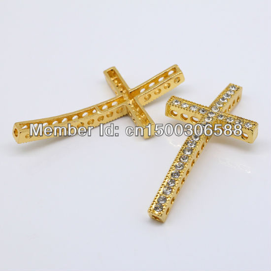 Wholesale 50pcs Fashion Clear Rhinestone Gold Color Curved Side ways Cross Connectors Beads For DIY Bracelet Jewelry Findings