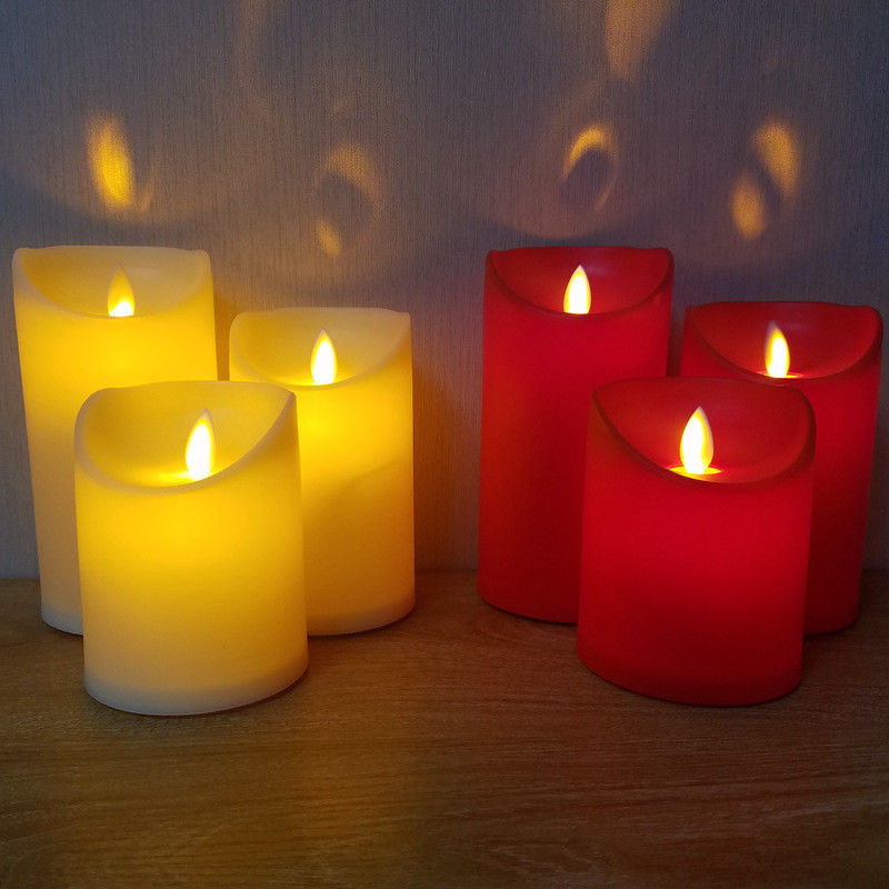 Festival Christmas Romantic Electronic LED Flameless Carve Swing Flickering Simulation Candle Light